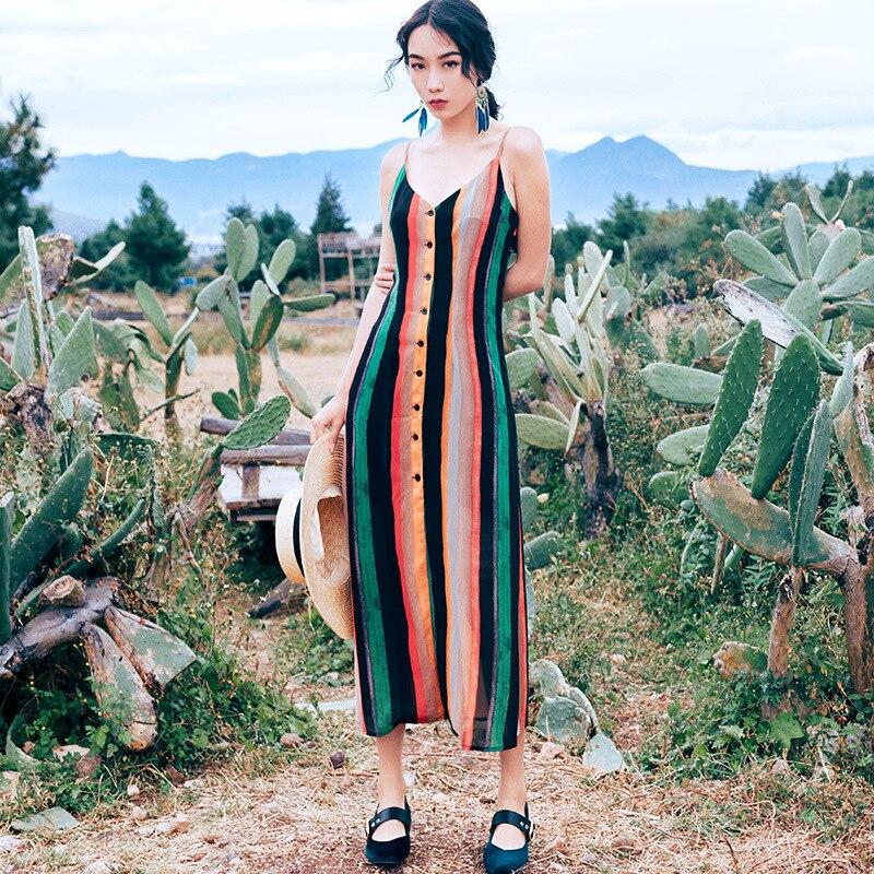 Maldives Seaside Holiday Chiffon Beach Dress Long Skirts Backless Women's Summer Slimming Stripes Outer Wear Strapped Dress