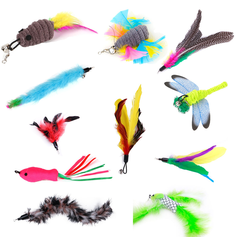 20 optional cat toys,flying fish, feathered cat stick replacement head,dragonfly, fishing rod,  Cat cat interactive fun toyCat Toys   -