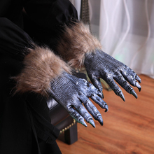 1 pair Halloween Decoration Festival Gloves Dance Party Props Funny Realistic Black Wolf Claw For Costume