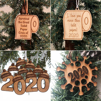 New 2020 Christmas Wood Quarantine Ornament Toilet Paper Crisis Pendant New Year Gift Home Decoration image