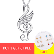 Authentic 925 sterling silver diy craft musical wing pendant chain necklace with cubic zircon fashion jewelry making for women