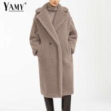 Teddy jacket faux fur coat largo Rosa fur coat mujer vintage chaqueta peluda abrigo de invierno mujeres elegantes abrigos de piel peluda caliente 2019