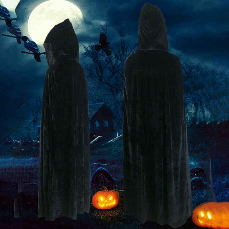 Yetişkin cadılar bayramı kadife pelerin Cape kapşonlu ortaçağ kostüm cadı Wicca vampir Cosplay kostümleri