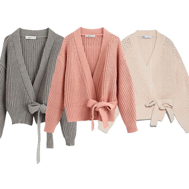 ZA новый женский вязаный кардиган с поясом и v-образным вырезом, Однотонный свитер, повседневный свободный стиль, женская одежда