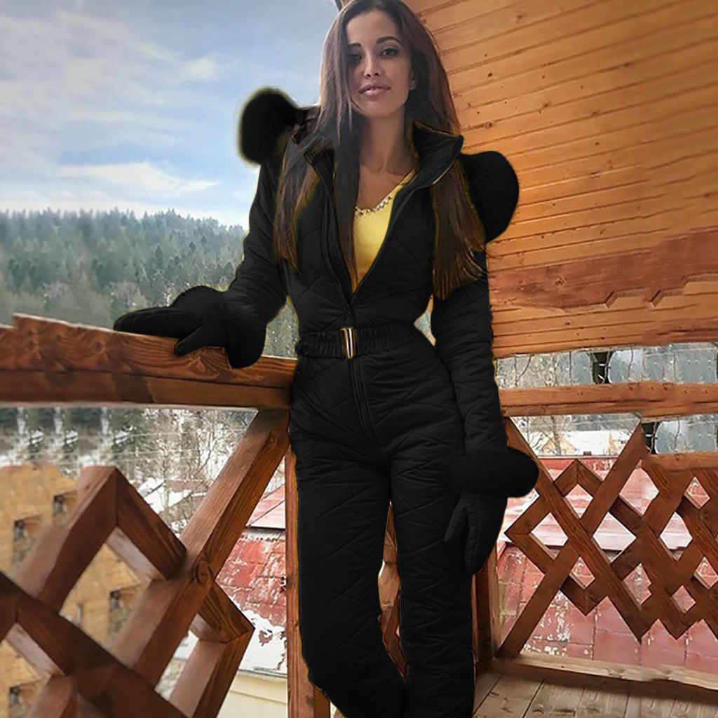 Delle donne di Modo casual di Spessore Caldo di Snowboard Skisuit Sport All'aria Aperta Della Chiusura Lampo Tuta Da Sci del corpo femme # sw