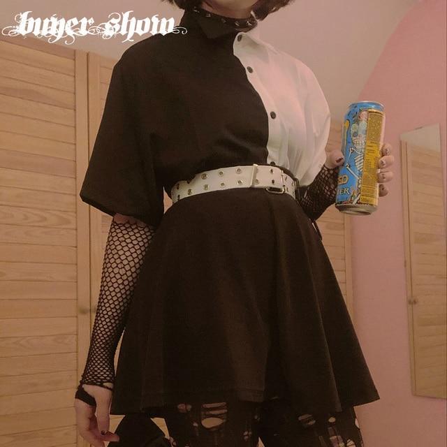 Goth Dark Loose High Waist Mini Dress Patchwork Summer Fashion Gothic Women Dress Turn-Down Collar Casual Party Dresses 2021 90s 4