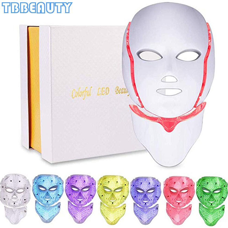 7 Colors Light LED Facial Mask With Neck Skin Rejuvenation Face Care Treatment Beauty Anti Acne LED Light Therapy Whitening Skin