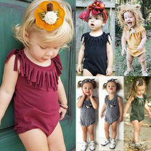 2020 new baby girls cotton romper sling robe and boys print jumpsuit for newborn children kids summer clothes 2020 Fashion Cute Newborn Baby Romper Summer Clothes Tassel Solid Cotton Casual Toddler Kids Baby Girls Boys Jumpsuit Outsuit