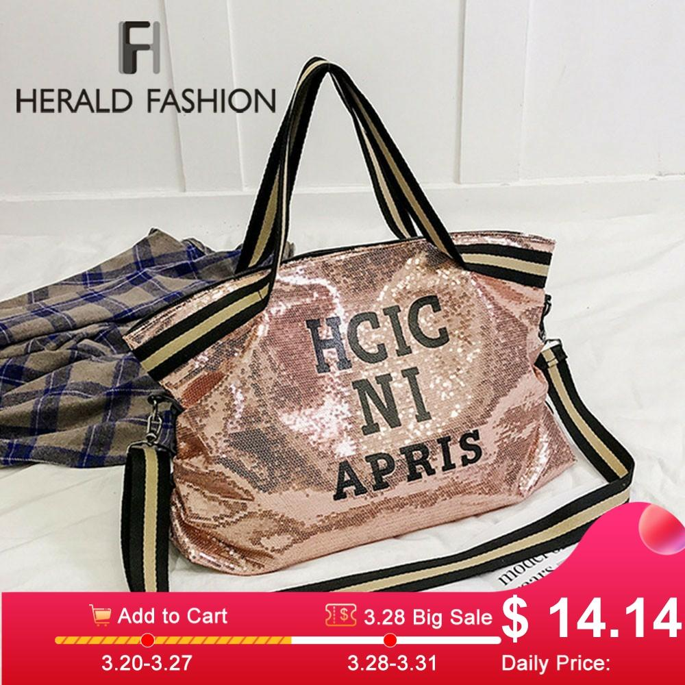 Herald Fashion Women Sequin Letter Printed Handag Female Large Capacity Top-handle Tote Bag Casual Ladies' Shoulder Shopping Bag