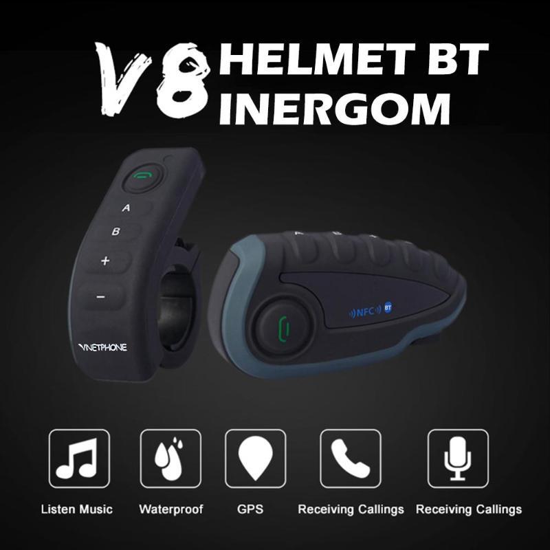 Bluetooth Headset Fernbedienung Griff NFC Spiele Handy Motorrad BT Wireless Intercom FM V8 5 Reiter Helm - 2