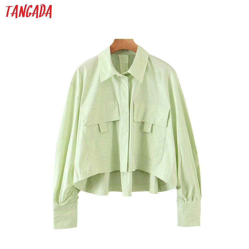 Tangada Women Retro Oversized Green Crop Blouse Long Sleeve Chic Female Casual Loose Shirt Blusas Femininas QB132