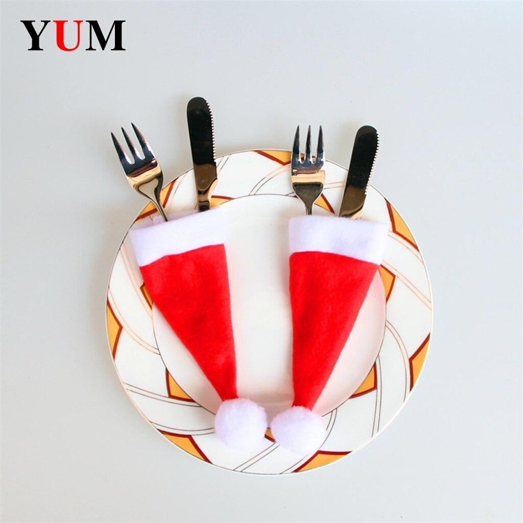 Vaisselle décorative de noël, Mini casquettes, couteau de poche, fourchette, porte-cuillères, décoration de Table pour la maison, fournitures de noël, 10 pièces