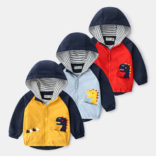 Boys Clothes Spring Dinosaur Windbreaker Trench Baby Boys Jacket Coat Clothes For Girls Autumn Kids Jacket Children Clothes 2020 2018 new autumn korean children s jacket children s casual cartoon dinosaur print baby boys girls windbreaker