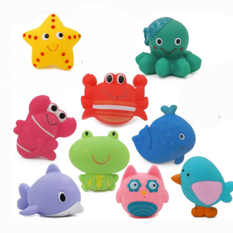 Water Spray Animal Soft Rubber Toys  Bath Toys Bathroom Baby Toy Duck Green Frog For Boys Girls