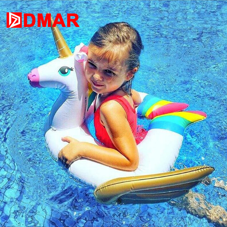 DMAR Inflatable Unicorn Baby Float Pool Toys For Kids Swimming Ring Pool Party Inflatable Mattress Beach Sea Unicorn Donut