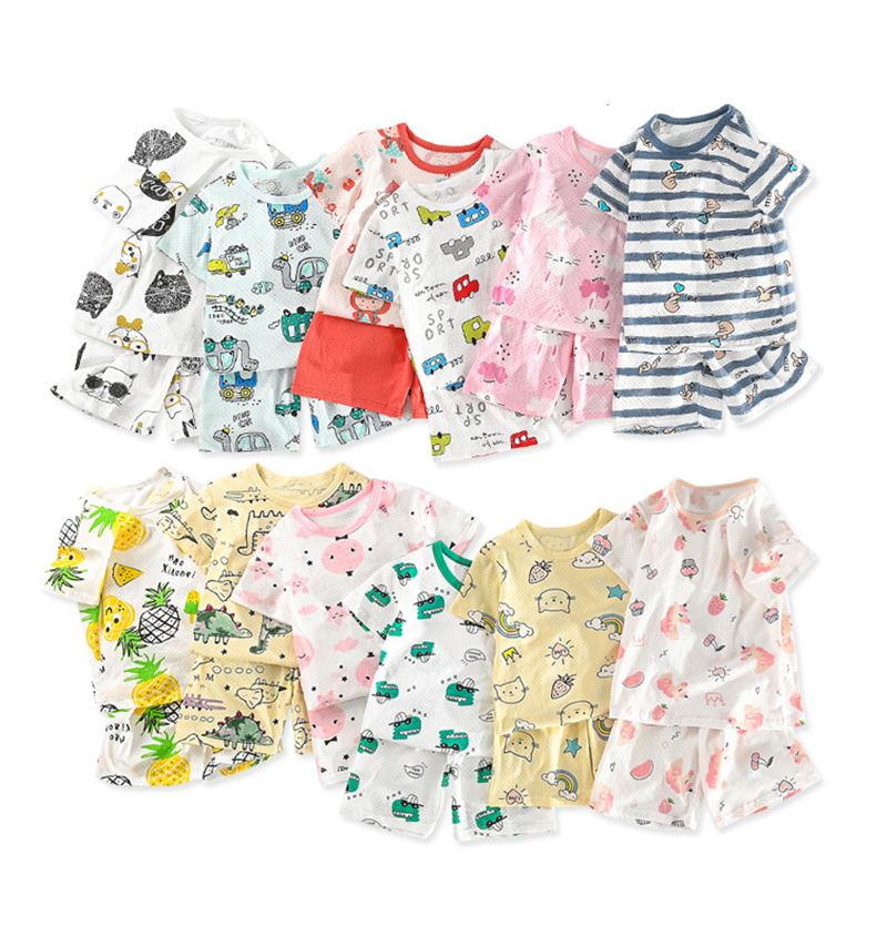Cute Children's Summer Pajamas Clothing Set Cartoon Boys Girls Sleepwear Suits Kids Short Sleeves Top + Pants Baby Home Clothes