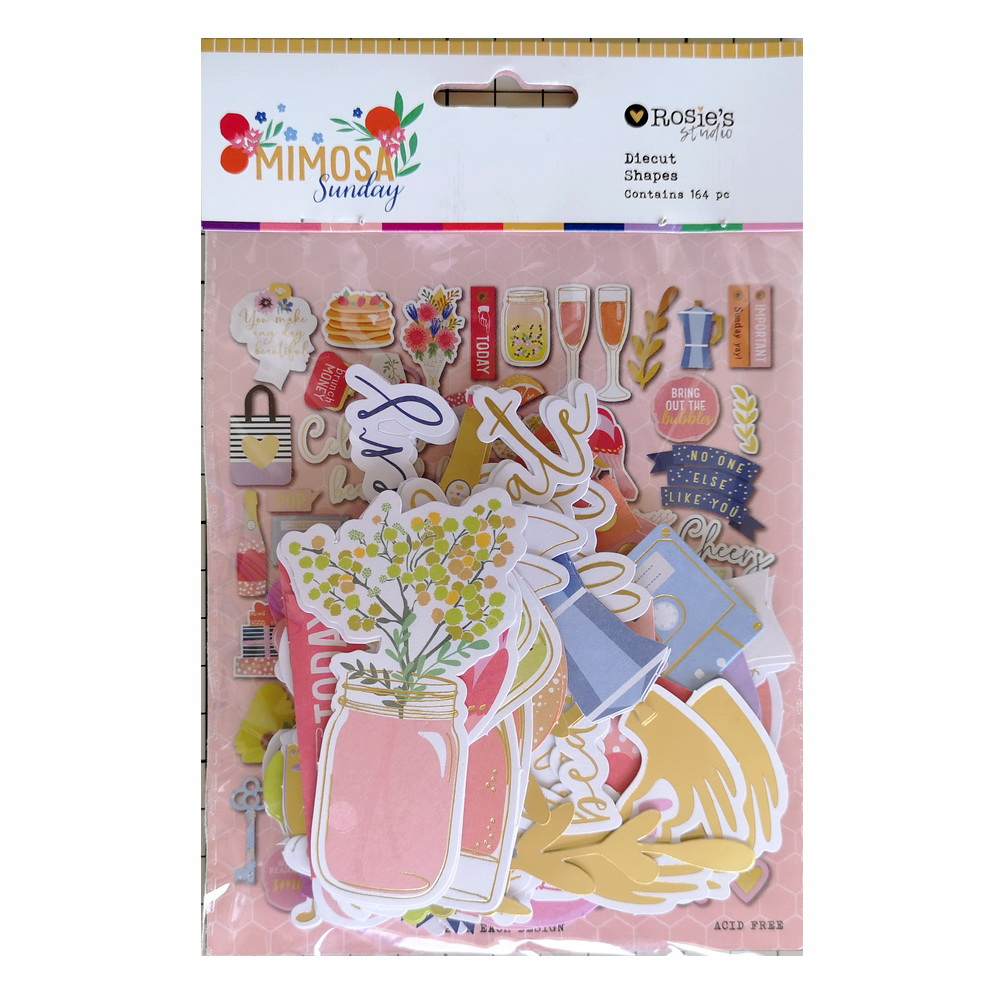 CRZCrafter 164pc Printed Paper Diecut Shapes Foil Design Scrapbooking Cardmaking Journal Embellishments
