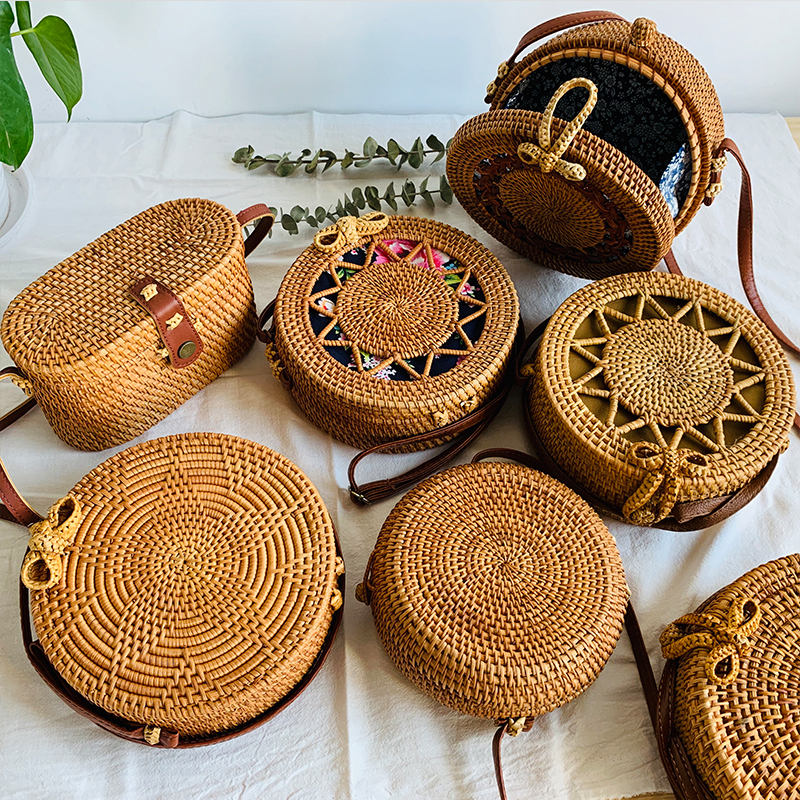 Women's Bags Circle-Shoulder-Bag Straw Rattan Woven Round Handmade Female Designer Beach-Bohemia