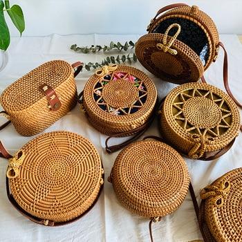 2020 New Womens Bags Straw Round Woven Handmade Designer Summer Beach Bohemia Rattan Circle Shoulder Bag For Female Fashion