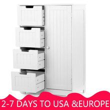iKayaa Modern Shelved Floor Cabinet with Door& Drawers Bedroom Storage Organizer Furniture White/Blue