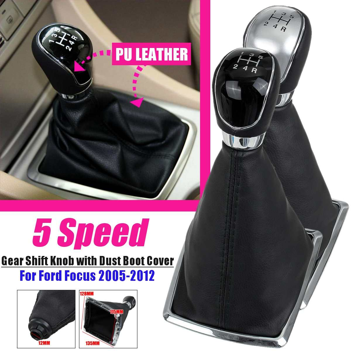 5 Speed Black Gear Shift Knob For Ford Foucs 2005-2008 1.8L