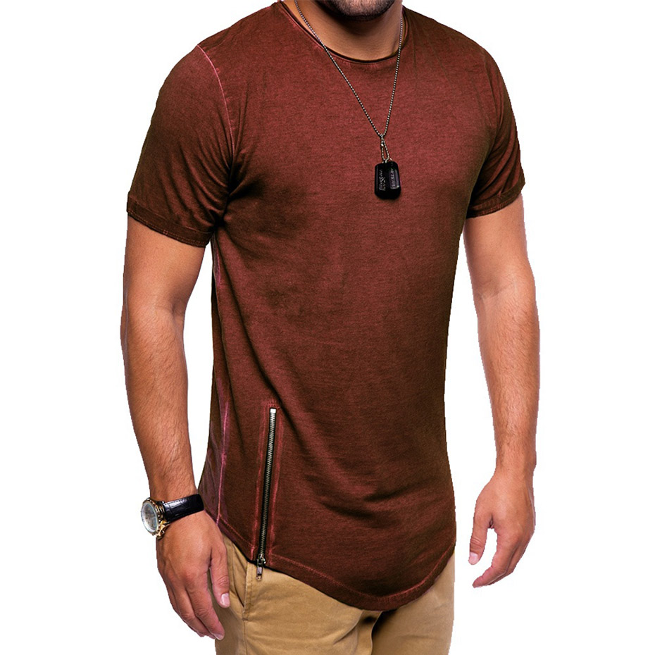 ZOGAA 2019 New Summer new brand 4 color T shirt casual round neck T shirt zipper decoration loose comfortable T shirt size M 2XL in T Shirts from Men 39 s Clothing