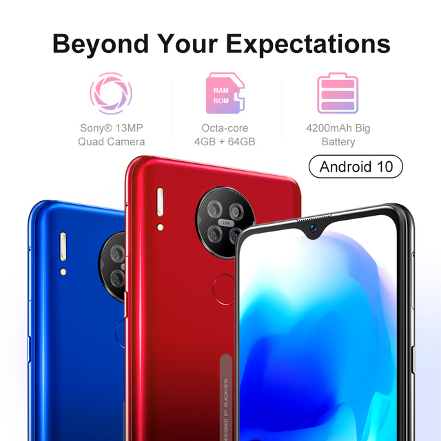 Blackview A80s Smartphone 6.217'' Screen Android 10 MT6762V/WD Octa Core 4GB RAM 64GB ROM Mobile Phone 4200mAh 4G Cellphone 2