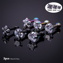 3pcs 3-5mm Cubic Zirconia Cartilage Stud Women Helix Piercing Ear Body Jewelry Star Earrings Barbell