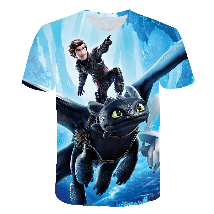 Hot Sales Children T-Shirt How To Train Your Dragon Cartoon 3D T-Shirt Summer Kids Clothes Anime T Shirt Cute  Streetwear Tops