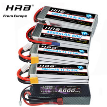 Аккумулятор HRB lipo 2S 3S 4S 6S 6000 мАч 3300 мАч 4000 мАч 5000 мАч батарея с EC5 XT60 T-деканов для RC автомобиль грузовик Дрон лодка