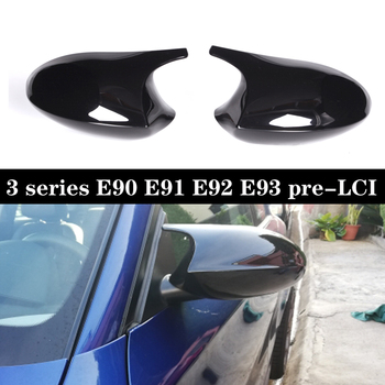 For BMW 3 Series E90 E91 2005-2007 E92 E93 pre-LCI 2006-2009 M3 Look Rear Cover Mirror Caps Covers Protector Plastic Materials image