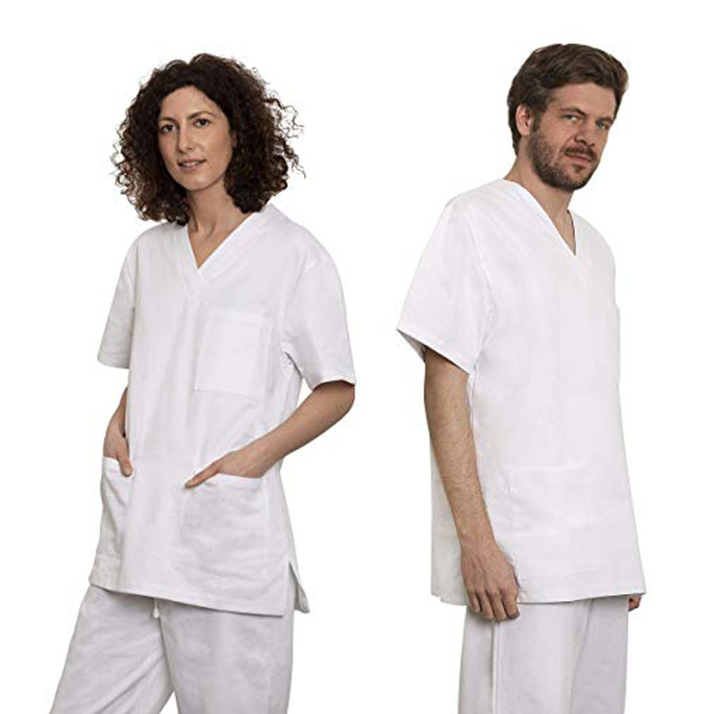 2019 New Unisex White Lab Coat Long Sleeve Pockets Uniform Work Wear Doctor Clothing Hospital Technician Nurse Gown