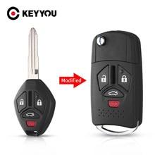 Замена KEYYOU модифицированный 3/4 кнопки чехол для дистанционного ключа от машины Корпус Корпуса для Mitsubishi Outlander Galant Eclipse Lancer