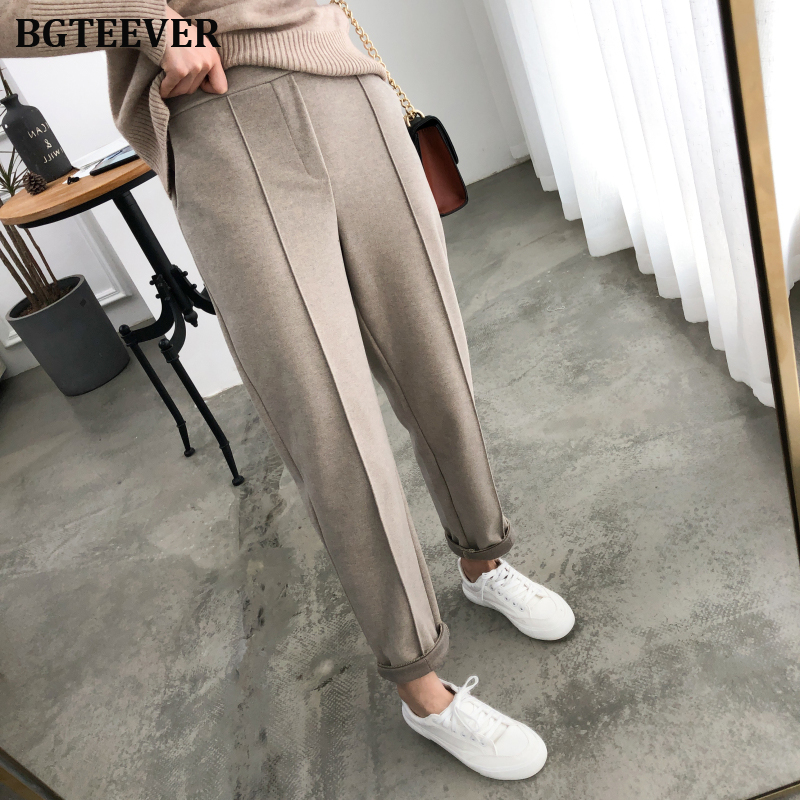 BGTEEVER Winter Women Suit Pants Thicken Women Pencil Pants Elastic Waist Office Ladies Pants Elegant Plus Size Women Trousers