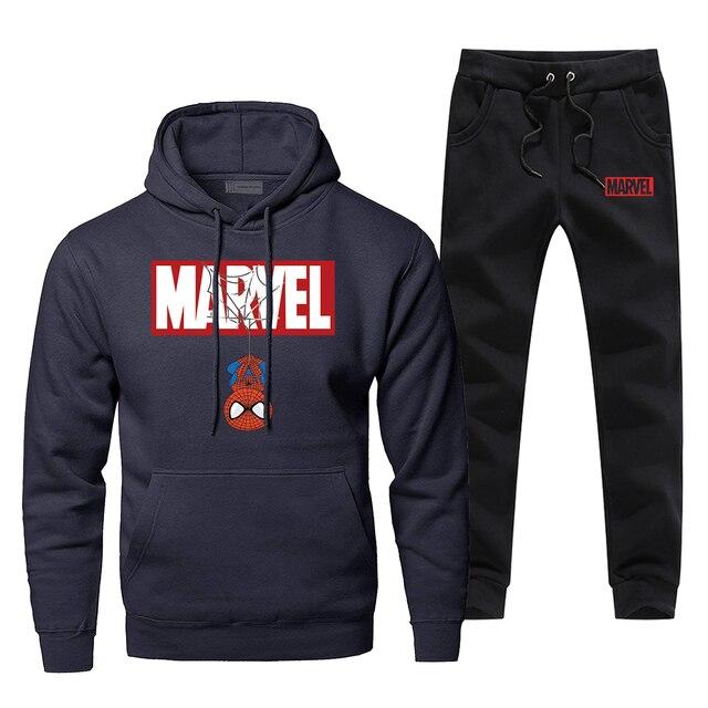 Hoodies Pants Sets Men Spider Man Superhero Track Suit Peter Parker Sweatshirt Sweatpants Sportswear Autumn Sports Sportswear