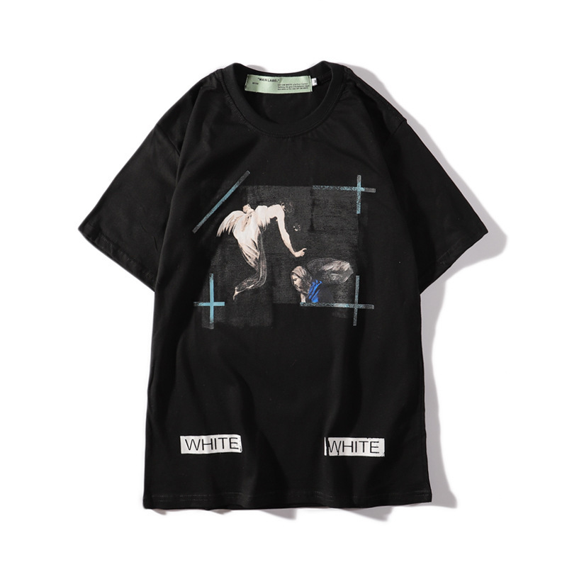 19ss Europe And America Popular Brand Deer Han Celebrity Style Off White Dissolved Religious Short Sleeve T-shirt Couples Hair