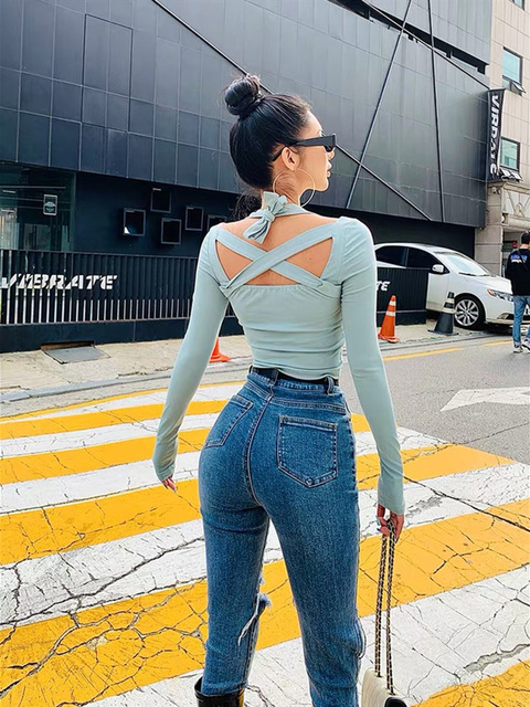 Tight open back top womens sexy square collar in autumn and winter multi wearing method cross tie top womens long sleeve light