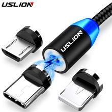 USLION – câble Micro USB/type-c magnétique avec LED, Charge rapide, transfert de données, compatible avec iPhone 11/12/Xiaomi Samsung