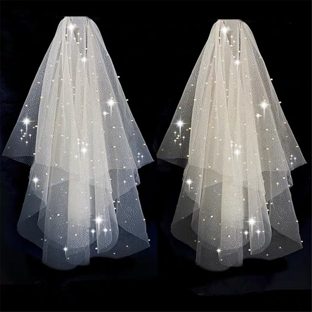 BlingBling Two-Layer Bridal Short Wedding Veil  Shiny Sequined Glitter White Champagne Bridal Mesh Veil Metal Comb Elbow Length