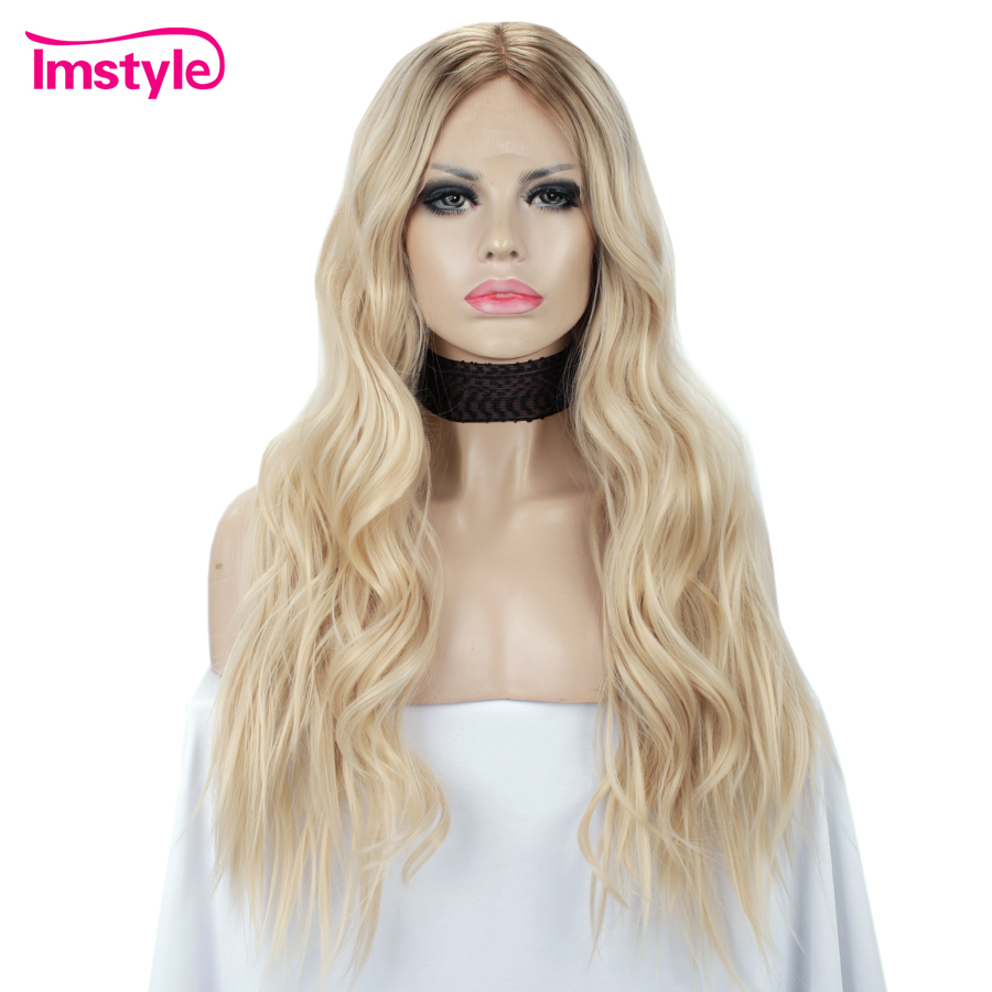 Imstyle Blonde Wig Long Wavy Synthetic Lace Front Wig For Women Dark Root Heat Resistant Fiber Natural Hairline Daily Wig