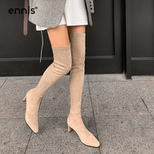 Suede Boots Over-The-Knee-Boots Fashion Shoes Pointed-Toe Women Flock ENNIS L009 Stretch