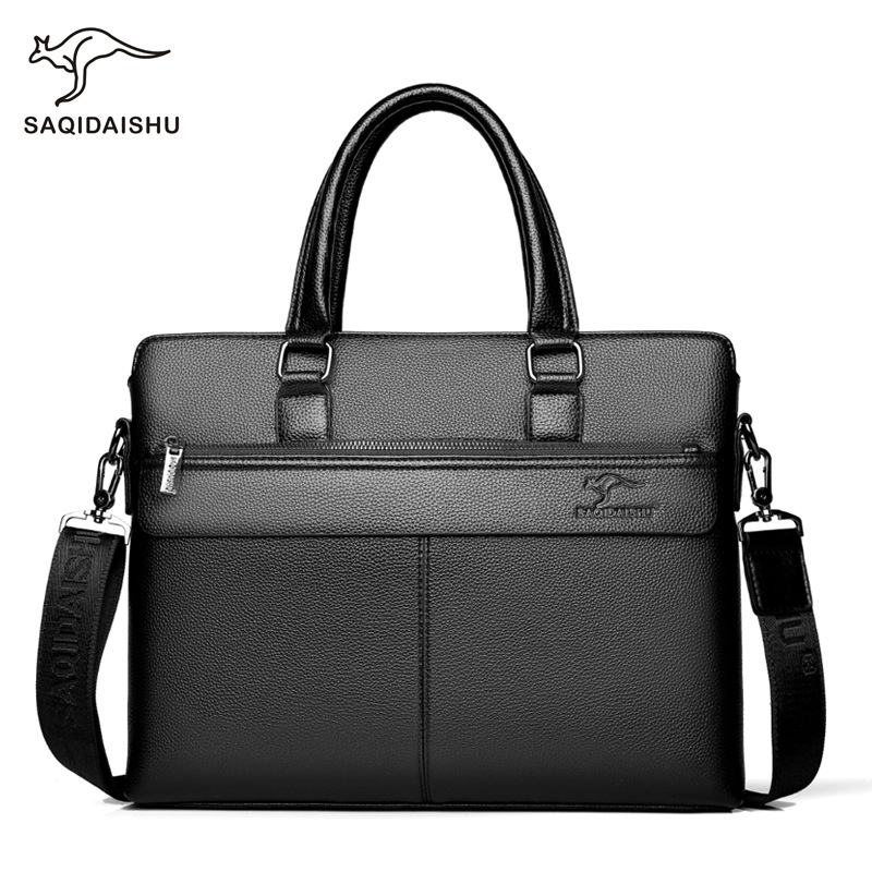 Men Briefcases Men's Bag PU Leather Office Bags For Men For 15