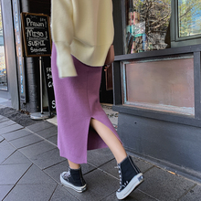 Korean Style Chic Women Knit Skirt Lavender Solid Color High Waist Elastic Wrap Hip Slim Split Elegant Autumn Sexy Skirts