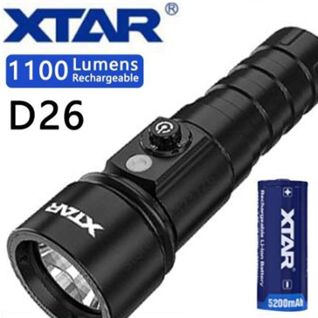 XTAR D26 Diving Flashlight CREE XM L2 U3 max 1100 lumen 4 modes dive light underwater 100 Meters handheld light diving torch