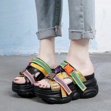 Koovan Women s Slippers 2021 High Heeled Shoes Cool Slippers Outside Women Wear Summer Shoes Wedges Shoes Fashion  Sandals Girls