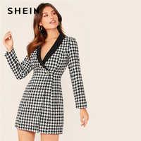 SHEIN col châle Wrap bouton avant Plaid Blazer Tweed robe femmes automne simple bouton Slim élégant Long Blazers