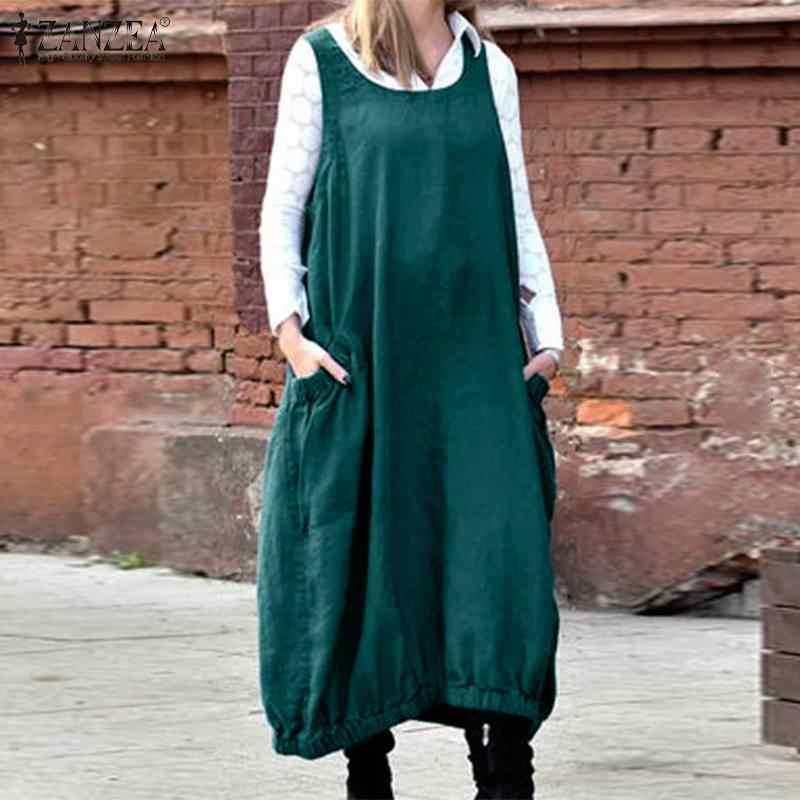 Plus rozmiar damski Casual Sundress ZANZEA 2020 Kaftan letnia sukienka ogrodniczka bez rękawów Sarafans Vestidos kobieta jednokolorowa bez rękawów szata