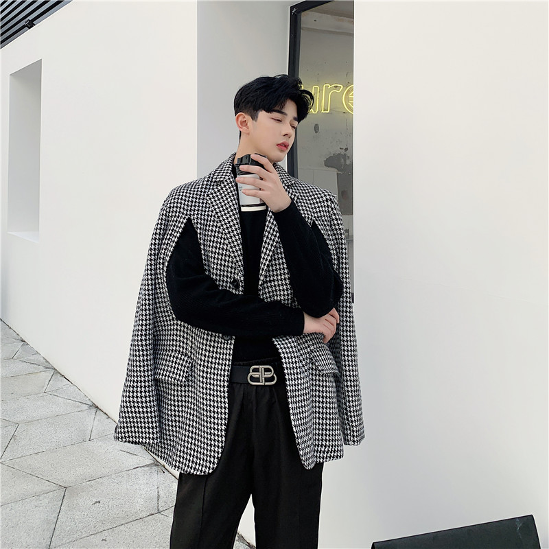Men 2 Style Wear Loose Casual Thick Plaid Suit Coat Shawl Male Vintage Streetwear Fashion Blazer Jacket Outerwear