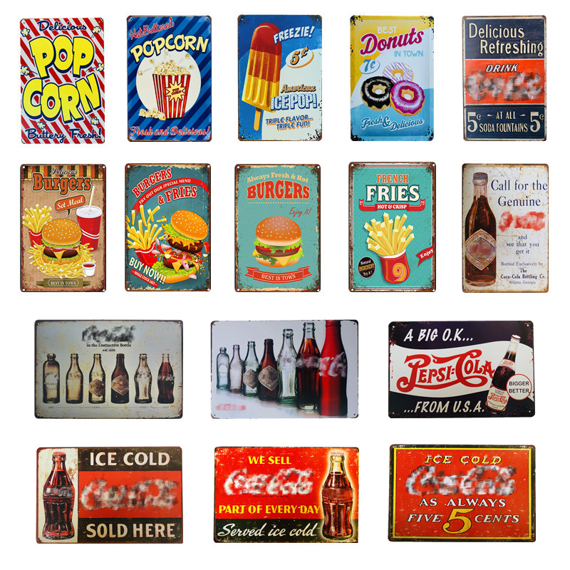 Vintage Metal Sign Tin Sign Cola Plaque Hamburger Ice Pop Cupcake Popcorn Fries Art Poster Bar Pub Club Man Cave Home Wall Decor image