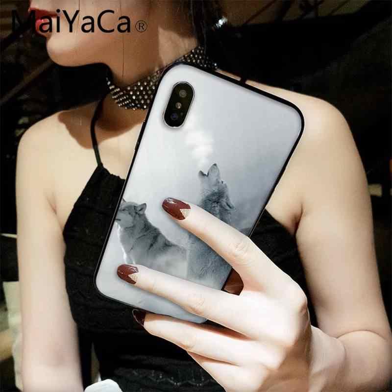 Maiyaca Tức Giận Sói Tuyết TPU Đen Ốp Lưng Điện Thoại Bao Thân Tàu Cho iPhone 8 7 6 6S 6S Plus X XS max 5 5S SE XR 11 11pro Promax